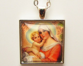 Madonna and Child Art Pendant, Virgin Mary and Baby Jesus Photo Pendant, Christian Jewelry, Catholic Jewelry, Glass Photo Pendant