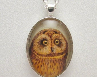 Vintage Owl Glass Photo Pendant, Vintage Owl Glass Necklace, Owl Jewelry, Glass Photo Necklace, Photo Jewelry, Owl Lover Gift, Hoot Owl