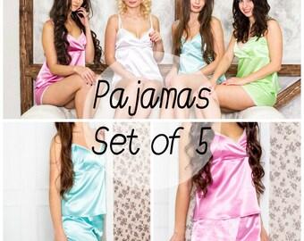 Set of 5, bridesmaid pajamas, pajama set, bridesmaid gift, lingerie bag included, sexy lingerie, gifts for bridesmaids, personalized pajamas