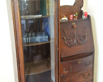 Antique Wooden Writer's desk / Curio Cabinet 1920's to 1930's Stunning Rare piece Great Condition