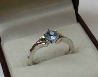 925 Silver ring with crystal blue 17.7 mm SR214