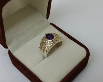925 Silver ring with amethyst and Crystal SR693