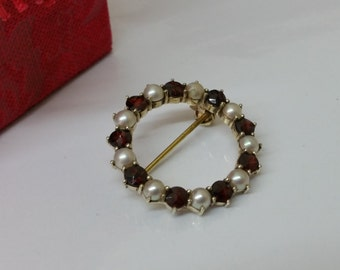 Brooch silver gold plated beads and Garnet SB149