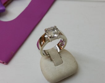 925 Silver ring with clear Crystal stone precious SR754