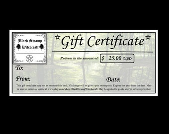 Gift Certificate for 25USD