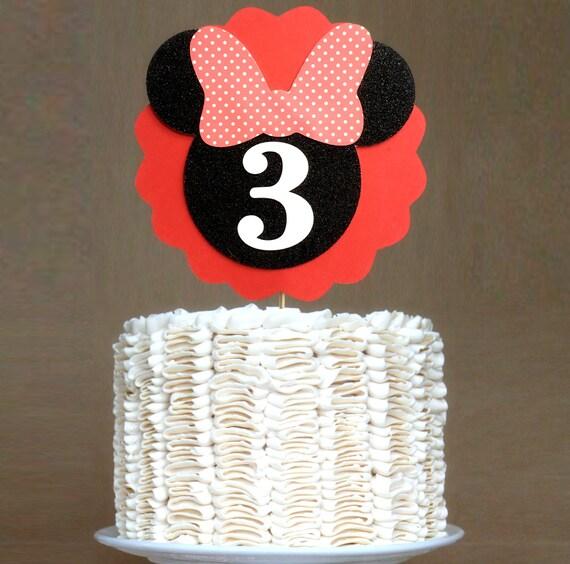 Minnie Cake Topper Red and Black Minnie Birthday Cake Topper