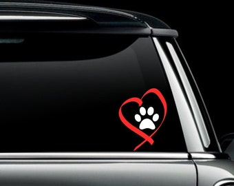 I Love My Dog Heart and Paw Decal- I Heart My Dog Sticker - Dog Love Decal