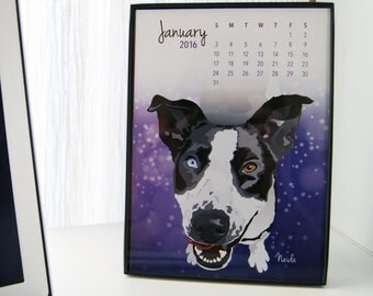 Dog Desk Calendar, 5x7, 2017, Flexible Dates, Animal Shelter Charity, Adoptable Dog Illustrations