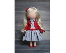 Art doll handmade red grey blonde color gift doll Tilda doll Interior doll Soft doll Decor doll magic doll by Master Margarita Hilko
