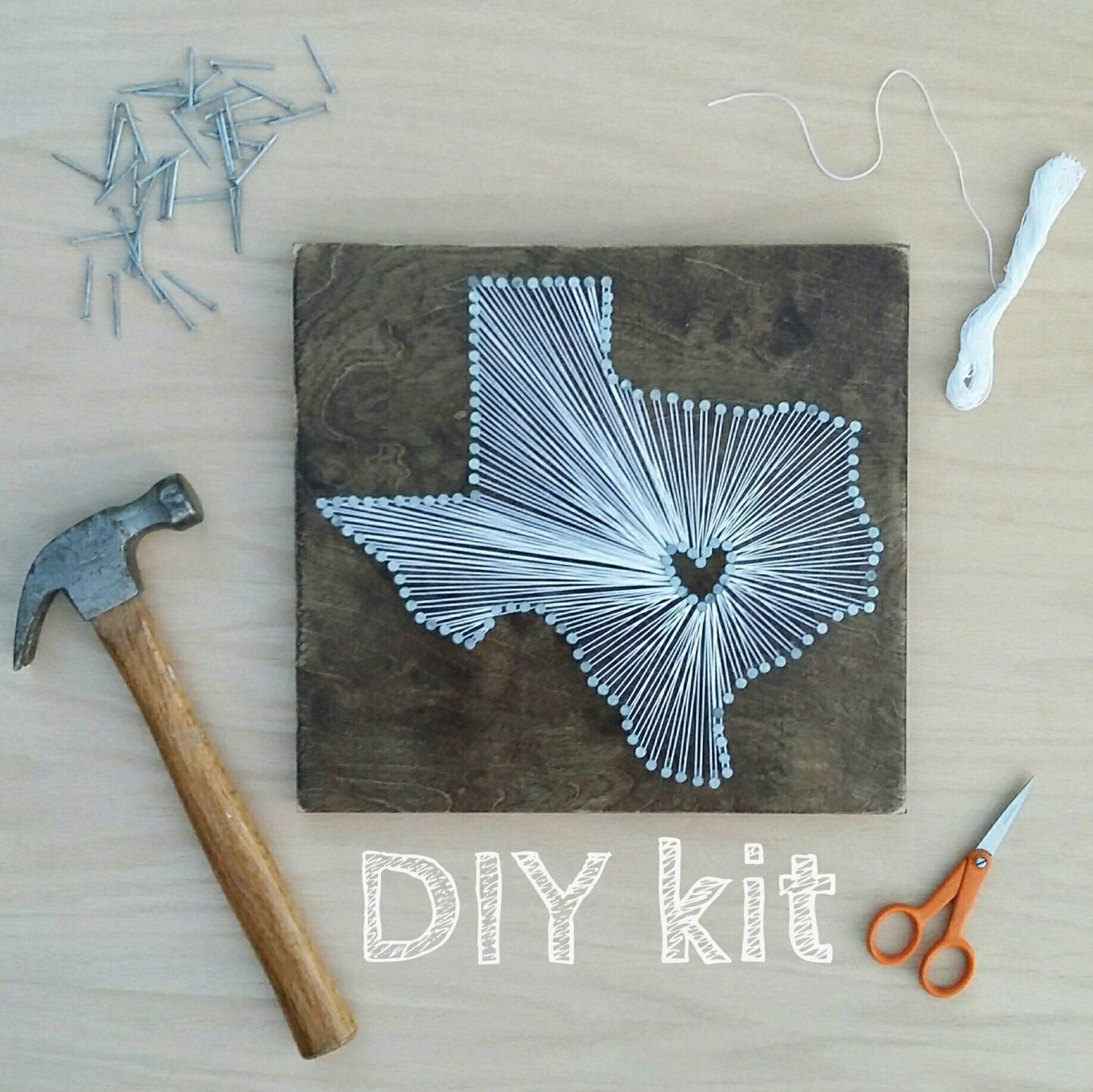 Diy texas string art kit state string art kit texas nail for Diy nail and string art
