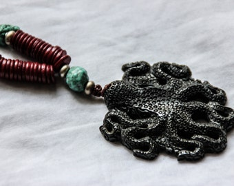 SALES !!!!Octopuss Mala with Turquoise stone - original design - unique - ethnic - gypsy - steampunk - fantasy - industrial - pixies