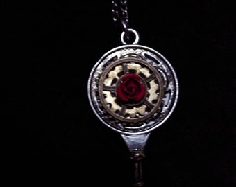 Cog and Rose/Blue Planet Necklace