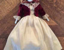 1860s-70s Antique German-made Flat Top Porcelain Doll in Antique Clothing by either Kestner, Hertwig, Conte and Boehm or Dressel & Kister