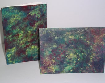 "Handmade Blank Greeting Note Cards and Envelopes, Set of 2 (5"" x 7""), Original Hand Painted Abstract Small Painting, One of a Kind Gift"