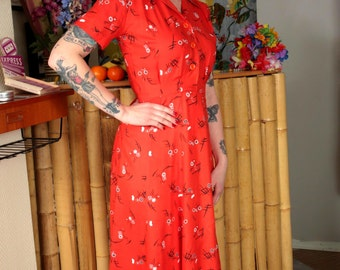 1940s style dress, 40s shirtwaist dress, 1940s tea dress, WW2 sweetheart, vintage rayon 40s dress