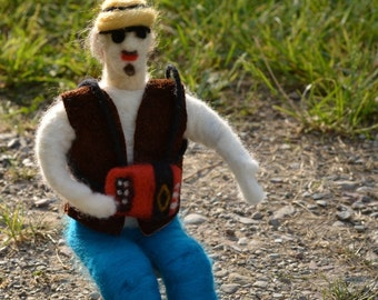 ON measuring Figurine accordionist felted needle representative my friend Normand Miron accordion felted wool
