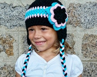 Black, pink and turquoise Hat custom