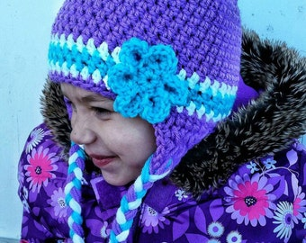 Tuque mauve, white and turquoise