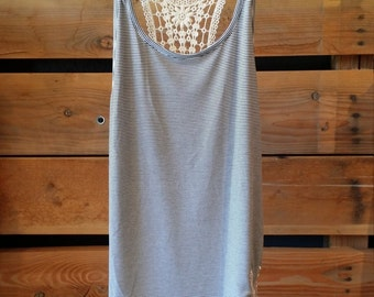 Stripped Lace Racer Back Tank