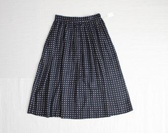 paisley skirt / navy blue skirt / long skirt