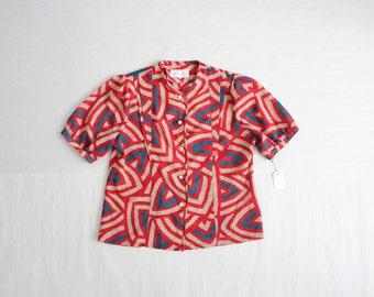 pop art blouse / red blouse / 1970s blouse