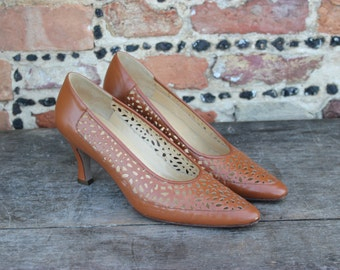 Gucci Italy Tan Brown Leather Court Shoes Pumps Heels Size UK 6 39