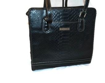 Liz Claiborne, Designer Bag, Black Reptile Purse, Satchel Bag, Messenger Bag,Purse, Black Purse, Classic, Handbag, Luxury Bags