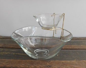 Vintage Indiana Glass Co Chip and Dip Set, Chip Bowl, Dip Bowl, Holiday Serving