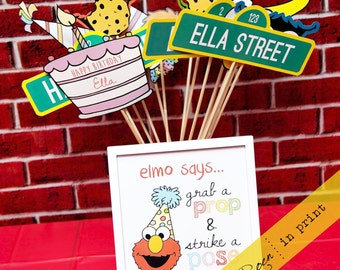 Sesame Street Party Photo Props Photobooth (Elmo, Big Bird, Oscar, Cookie Monster & More) - Personalized Digital Print - 8.5 x 11 Sized