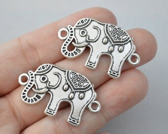 4 Pcs Elephant Connector Charms Animal Charms Antique Silver Tone 35x22mm - YD0169
