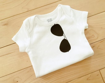 Aviator Sunglasses Bodysuit / Baby Funny / Cool Baby Clothes Boy