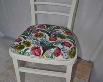 Distressed, Cream, Vintage, Tulip fabric upholstered Chair