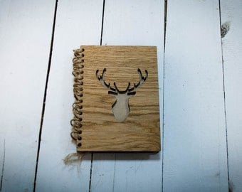 FREE shipping Deer notebook Personalized Sketchbook Oak wood Present jotter Wooden notebook Hardcover notebook Journal Diary Gift Natural