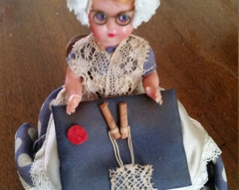 Vintage  Lace Maker Lady Doll Display Souvenir Doll Made in Belgium