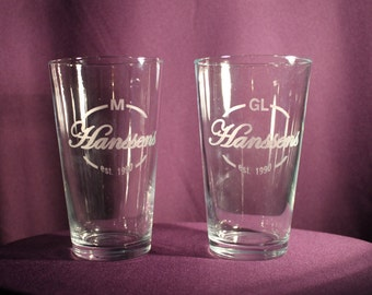 Monogram Family Name Custom Etched Pint Glass - Family Name Design - Wine Glasses, Barware, Drinkware