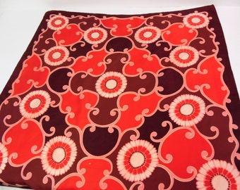 Vintage satin scarf / headscarf, mod, reds and pinks