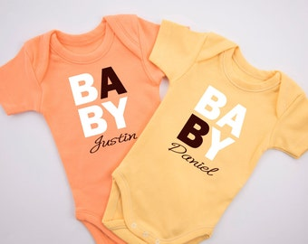 PERSONALIZED TWIN Baby Boy Set, Set of 2 Twin Baby Boy Bodysuits, Orange & Yellow Baby Bodysuits, Twin Boys Baby Shower, NB to 12-18 months