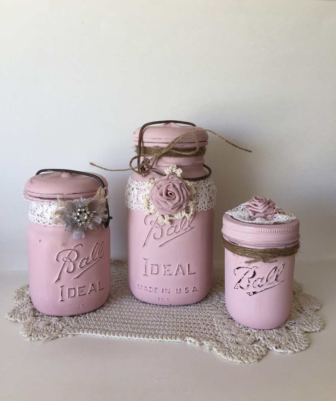 set of 3 mason jars baby shower mason jars wedding mason