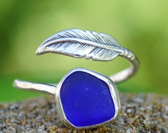 Colbalt Blue Seaglass and Sterling Silver Feather Ring