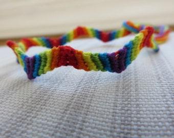 Zig Zag Rainbow Friendship Bracelet - String Bracelet