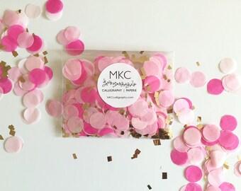 Pink Ombre & Gold Tissue Confetti / Round Cut / Handmade / Bridal Shower, Baby Shower, Birthday's, Weddings, etc.