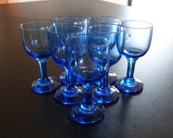 Vintage blue liquor glasses