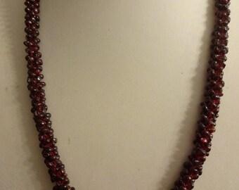 Vintage Garnet Necklace, Garnet Gemstone Necklace, Gemstone Necklace, Red Garnet Necklace