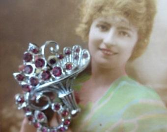 Vintage Rhinestone Cornacopia Brooch, Czech Crystal Brooch, Rhinestone Crystal Brooch, Austrian Crystal Brooch