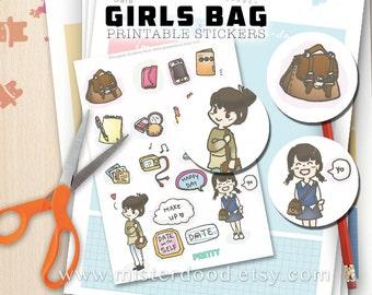 GIRLS BAG Printable Sticker, Fashion Ladies Young Girl Handbag Makeup Lifestyle, Cute Korean Asian Clipart Illustration, Instant Download