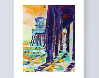 Beach scene digital print, HB, CA  Pier, 8x10, beach wall art, beach print, beach decoration, wall decor