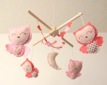 Owl Baby Mobile in Pink and Cream