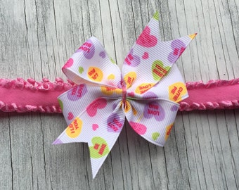Conversation Hearts Bow // Valentines Day Bow // Candy Heart Hair Bow // Pink Heart Bow // Heart Bow // Heart Headband // Heart Hair Clip //