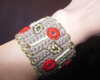 bead embroidery Bracelet, Crochet Jewelry, Freeform Crochet Bracelet, textile cotton jewelry, boho chic, Hippie, OOAK, gift for her