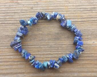 LAPIS LAZULI Natural Stone Gemstone Stretchy Chip Bracelet